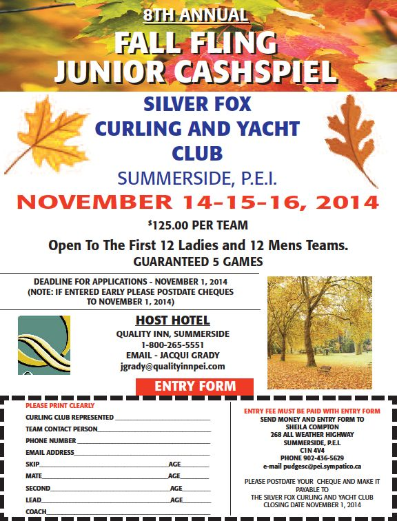 8th annual Fall Fling Junior Cashspiel @ Silver Fox Curling & Yacht Club