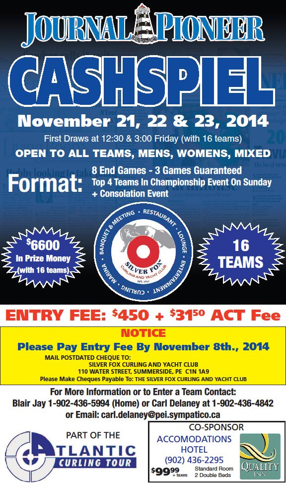 Journal Pioneer ACT Cashspiel @ Silver Fox Curling & Yacht Club | Summerside | Prince Edward Island | Canada