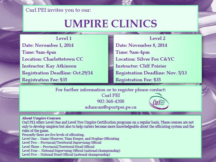 Level 1 Umpire Clinic @ Charlottetown Curling Complexx   Charlottetown   Prince Edward Island   Canada