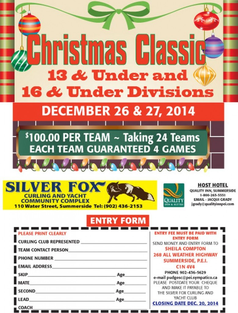 CANCELLED: Christmas Classic for 13 and Under, 16 and Under @ Silver Fox Curling and Yacht Club | Summerside | Prince Edward Island | Canada