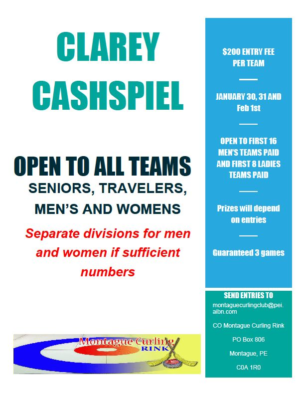 Clarey Cashspiel @ Montague Curling Rink