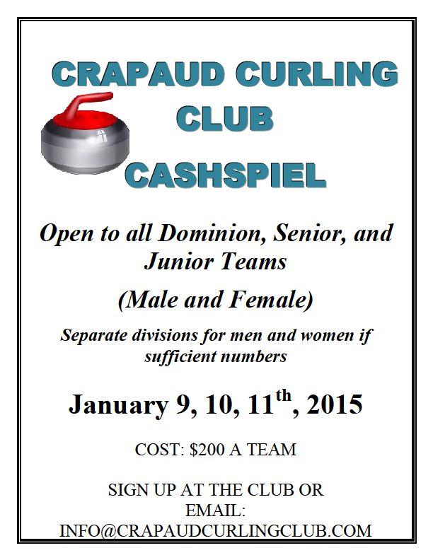 Crapaud Cashspiel for Senior, Junior, Travelers teams @ Crapaud Community Curling Club | Crapaud | Prince Edward Island | Canada