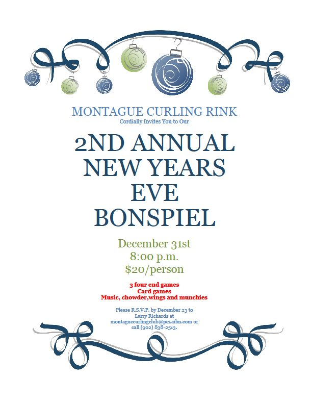 Montague New Year's eve spiel @ Montague Curling Rink