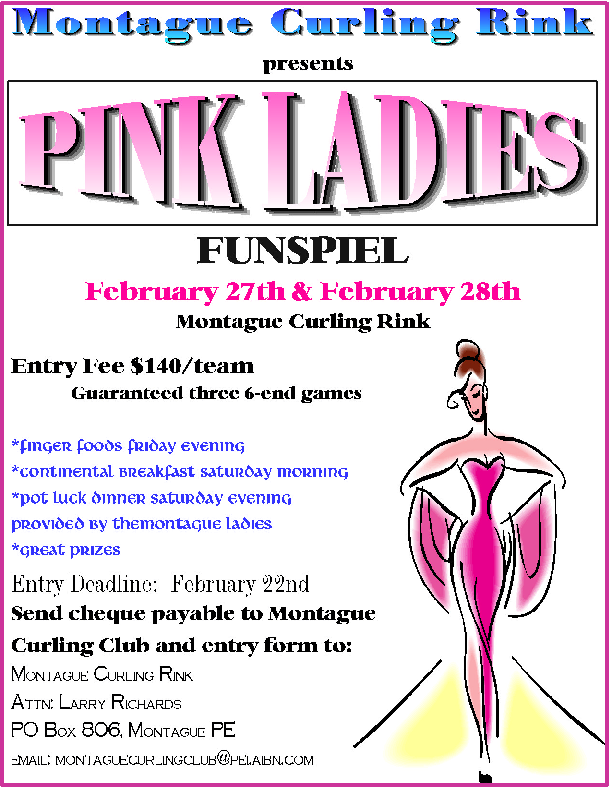 Pink Ladies Funspiel deadline @ Montague Curling Rink | Montague | Prince Edward Island | Canada