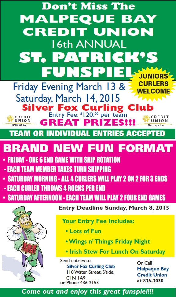 Malpeque Bay Credit Union St. Patrick's Funspiel @ Silver Fox Curling and Yacht Club