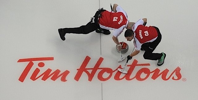 2015, Calgary Ab, Tim Hortons Brier, Team Canada skip John Morris, lead Nolan Thiessen, Curling Canada/michael burns photo