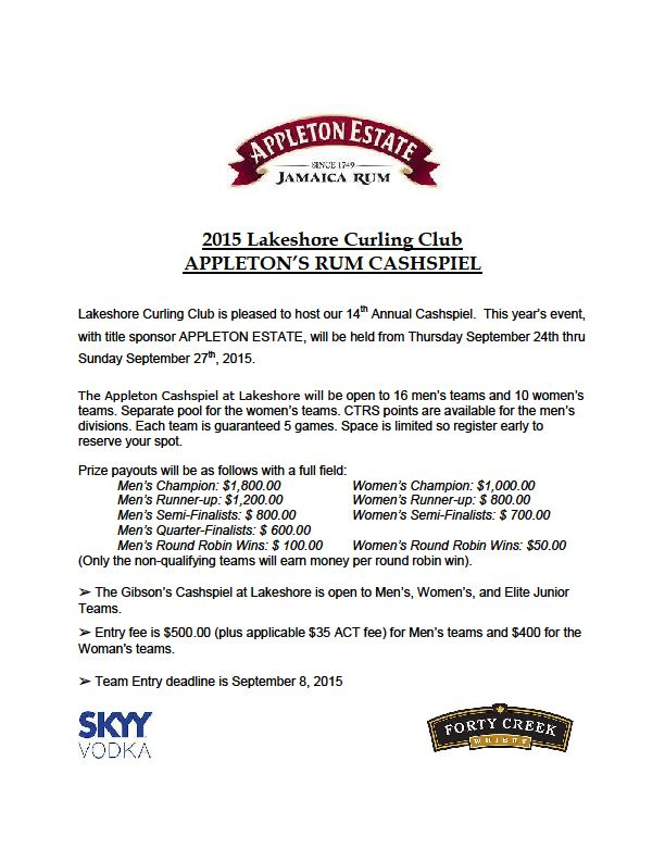Appleton Rum Cashspiel - entries due Sept. 8 @ Lakeshore Curling Club | Lower Sackville | Nova Scotia | Canada
