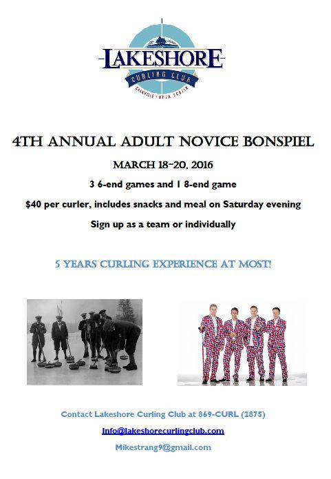 4th annual Lakeshore Adult Novice Bonspiel @ Lakeshore Curling Club | Lower Sackville | Nova Scotia | Canada