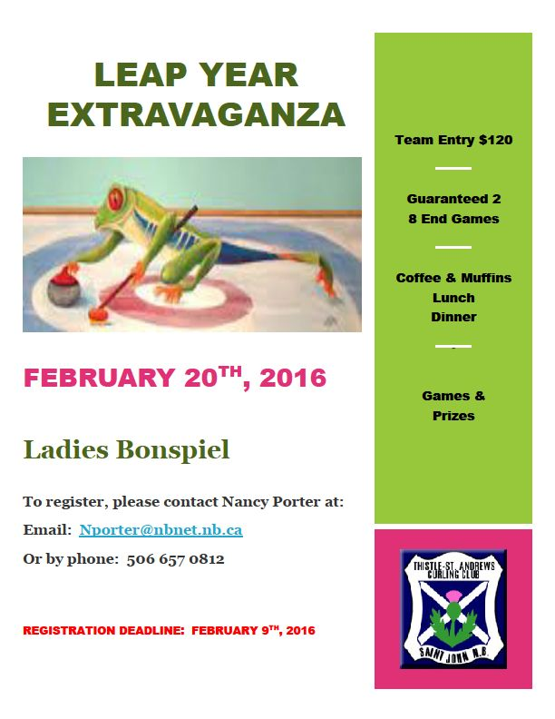 Leap Year Extravaganza Women's Bonspiel @ Thistle-St. Andrews Curling Club | Saint John | New Brunswick | Canada