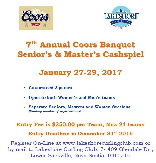 7th Annual Lakeshore Coors Banquet Senior's & Master's Cashspiel @ Lakeshore Curling Club