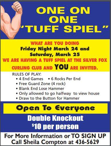 "Annual One on One ""Tuff Spiel"" @ Silver Fox Curling and Yacht Community Complex 