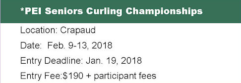 Seniors Entry Deadline @ Crapaud Community Curling Club