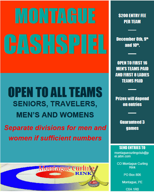 Montague Cashspiel (revised dates) @ Montague Curling Rink | Montague | Prince Edward Island | Canada