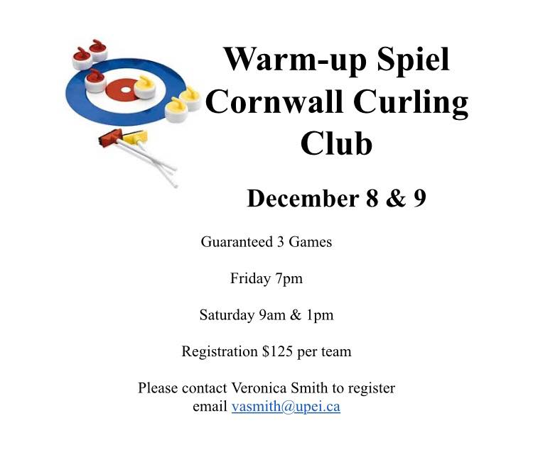 Veronica Smith team hosting Warmup Siel @ Cornwall Curling Club
