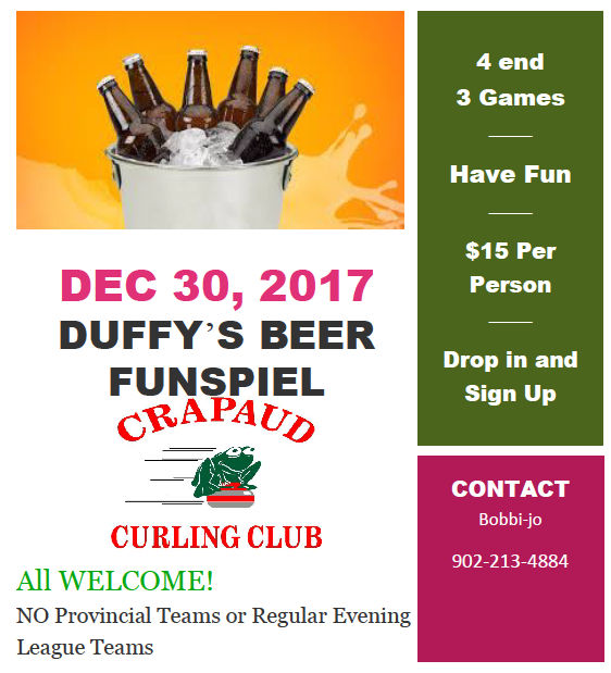 Duffy's Beer Funspiel @ Crapaud Community Curling Club