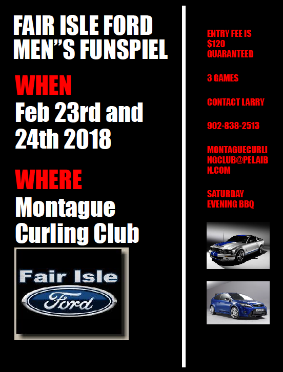 Fair Isle Ford Men's Funspiel @ Montague Curling Rink | Montague | Prince Edward Island | Canada