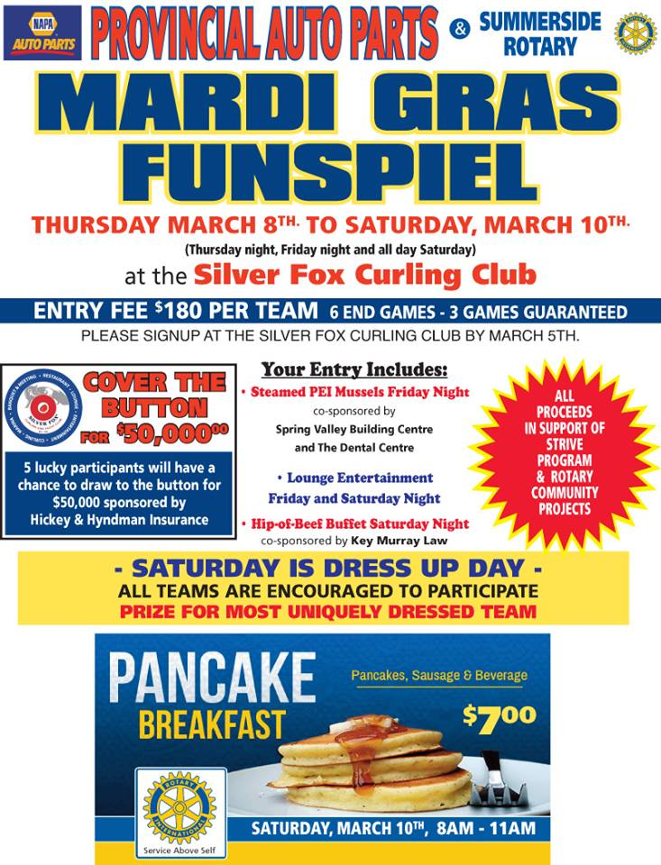 Annual Provincial Auto Parts/S'Side Rotary Mardi Gras Funspiel @ Silver Fox Curling and Yacht Club