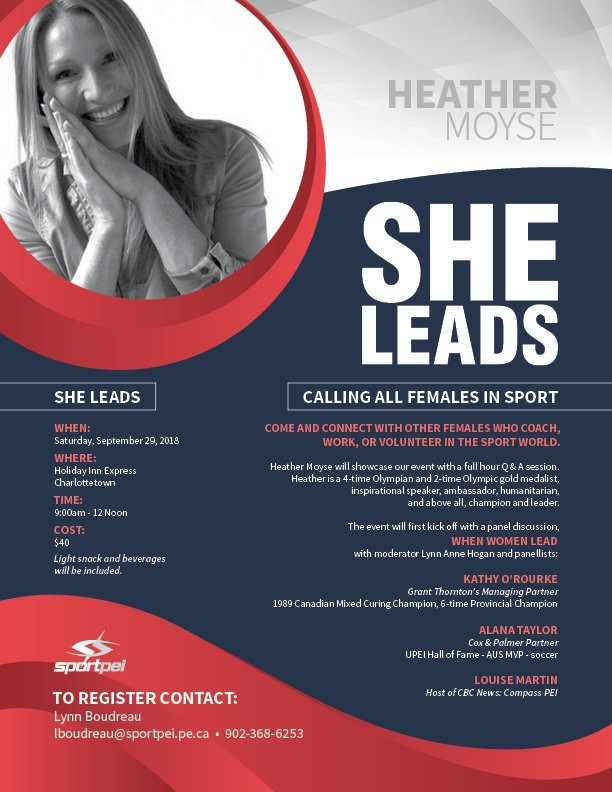 She Leads, with Heather Moyse @ Holiday Inn Express | Charlottetown | Prince Edward Island | Canada
