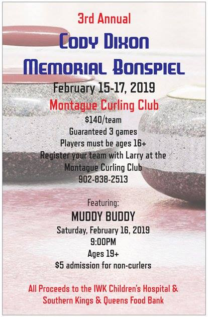 3rd Annual Cody Dixon Memorial Bonspiel (Full) @ Montague Curling Rink | Montague | Prince Edward Island | Canada