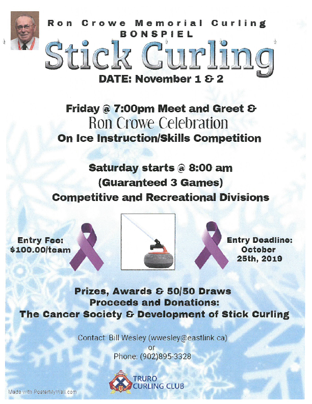 Ron Crowe Memorial Stick Curling in Truro @ Truro Curling Club