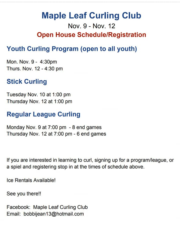 Youth, Stick, Regular Curling Open Houses at Maple Leaf club in O'Leary @ Maple Leaf Curling Club